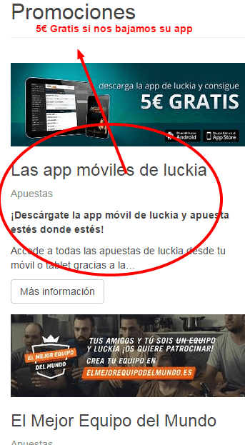 Luckia.es version movil 5€ gratis si nos descargamos el app