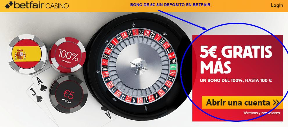 Betfair Casino bono de 5€ sin tener que hacer deposito solo con email