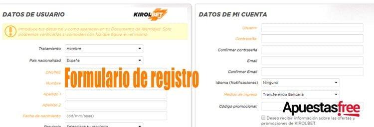 como registrarse en kirolbet, formulario de registro