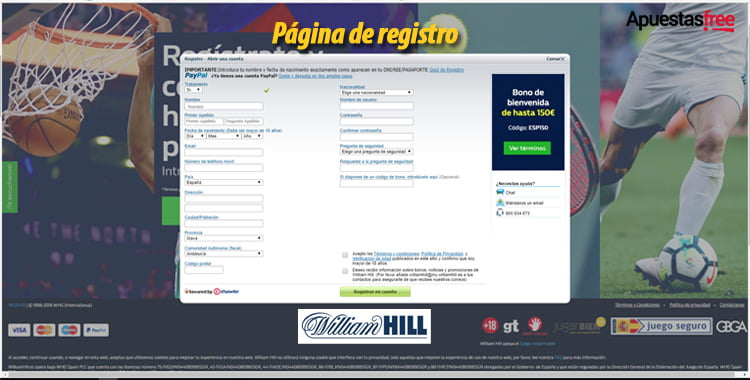 código de bono de William Hill