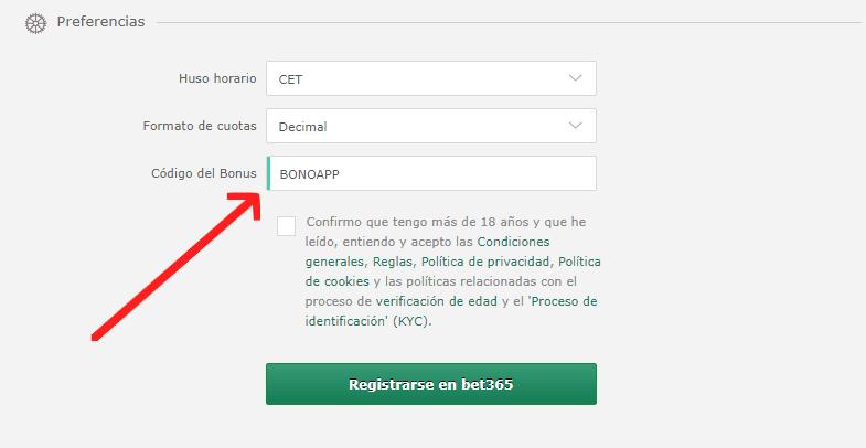 Ejemplo de donde introducir el código del bonus.