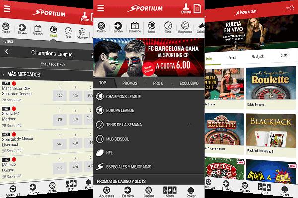 Aplicación móvil de Sportium