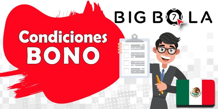 condiciones bigbola en su bono de bienvenida y codigo promocional