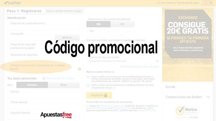 código promocional betfair exchange