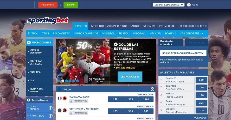Sportingbet interfaz