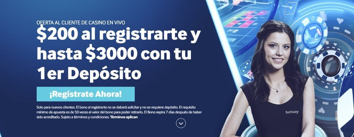 Bono casino en vivo Betway