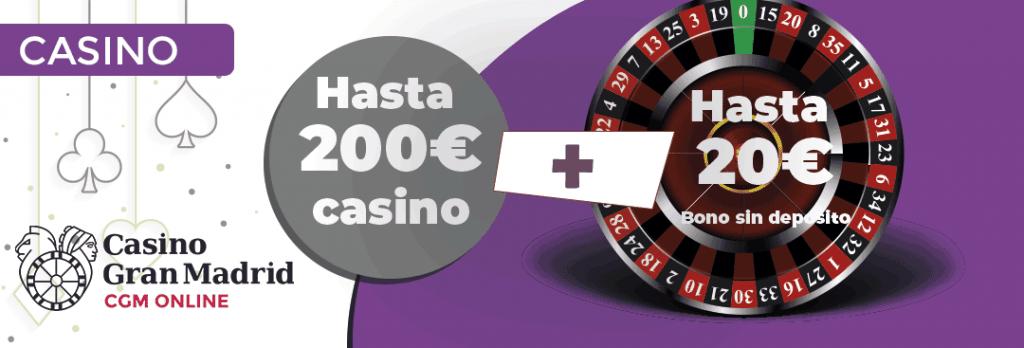 El casino gran madrid online nos ofrece un bono de ruleta de hasta 200€ mas un bono sin deposito de hasta 20 euros gratis