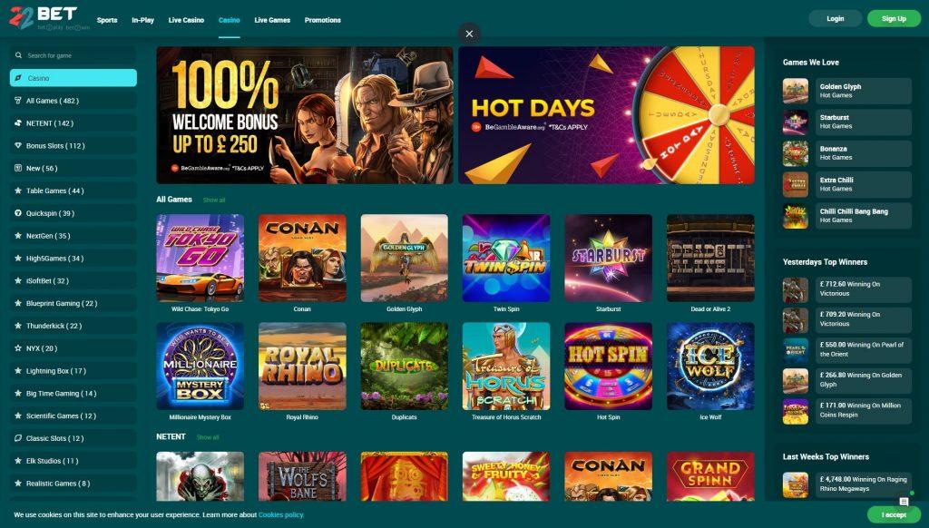 22bet casino y sus promociones