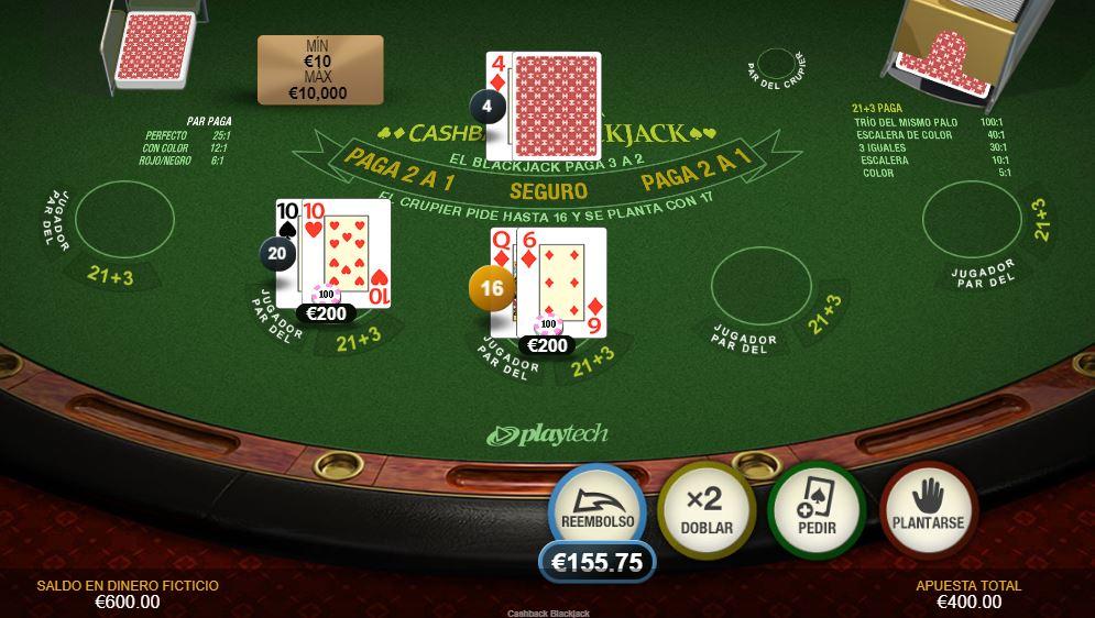 cashback blackjack probar
