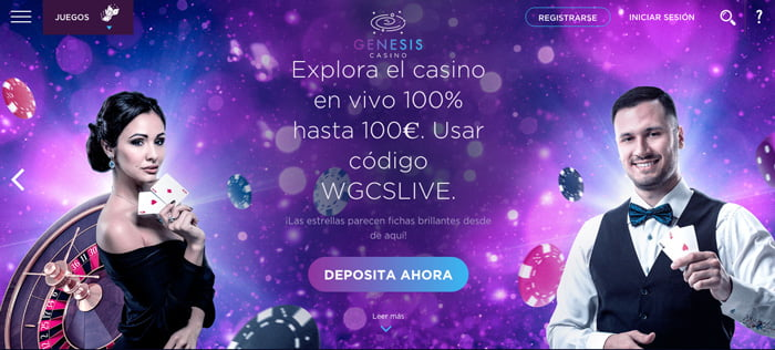 Hasta 100€ para disfrutar del Casino en Vivo de Genesis Casino