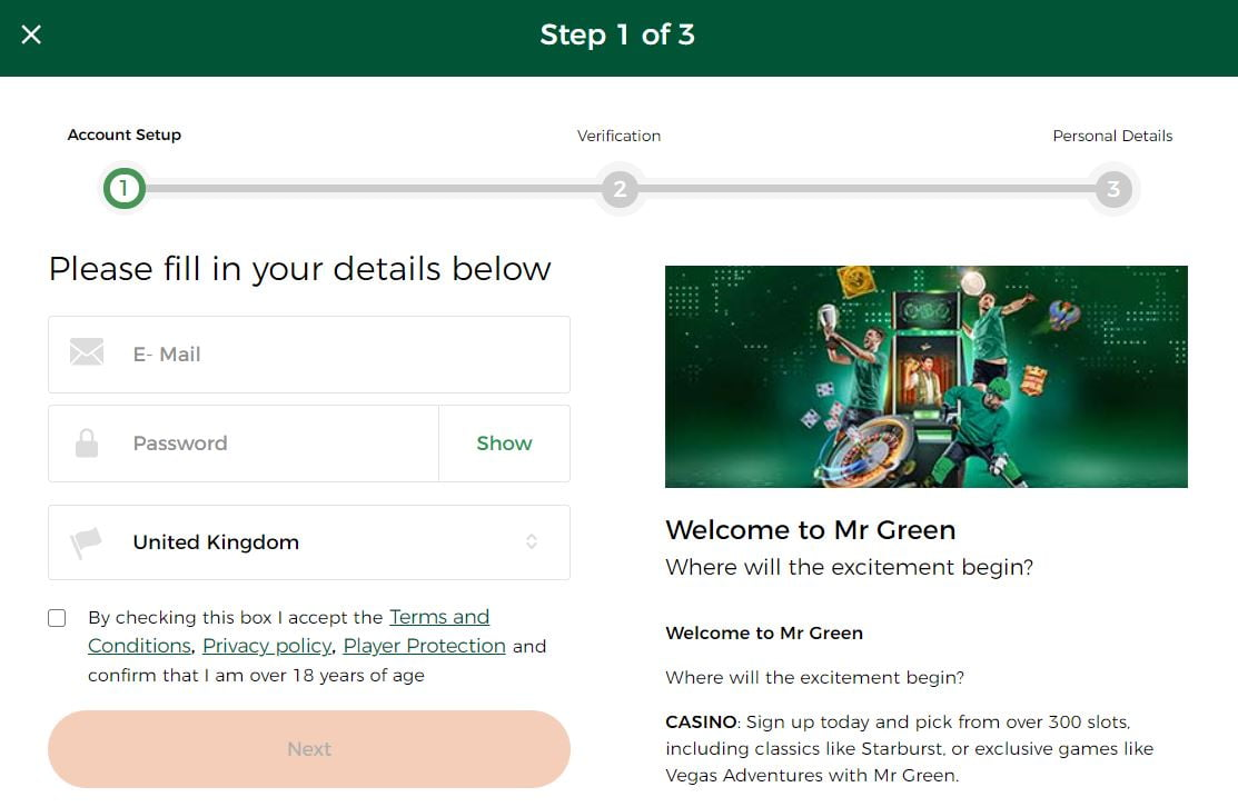How to register with Mr Green