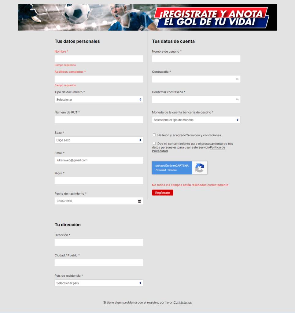 formulario de registro de rojabet