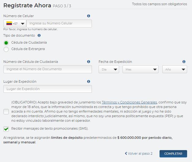 rushbet registrarse paso 4