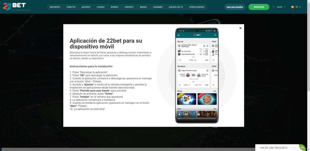 22bet app descargar